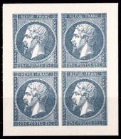 FRANCE N°10 NAPOLEON III 0,25c BLEU BLOC DE 4 TIMBRES  EMIS PAR LE MUSEE DE LA POSTE AVEC LES POINCONS D'ORIGINES ** - 1852 Louis-Napoléon