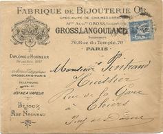 SAGE 15C LETTRE ENTETE FABRIQUE DE BIJOUTERIE PARIS RUE DU TEMPLE 1900 - Postmark Collection (Covers)