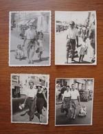 4 Photos Couple Avec Enfants 1947 Station Balnéaire En France. - Anonymous Persons