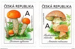 2018 Série De 2 Timbres  Champignons Leccinum Rufescens Et Amanita Rubescens / Mushrooms - Czech Republic