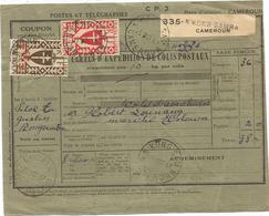 CAMEROUN FRANCE LIBRE  1FR50+50C BULLETIN EXPEDITION DE COLIS POSTAUX N'KONG SAMBA 25 OCT 1947 - Cameroun (1915-1959)