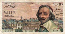 5552 -2019     BILLET  1000F RICHELIEU 3-9-1953 - 1 000 F 1953-1957 ''Richelieu''