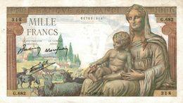 5560 -2019     BILLET  1000F DEESSE 20-6-1942 - 1 000 F 1942-1943 ''Déesse Déméter''