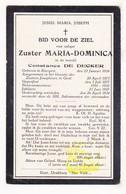 DP EZ Constance De Decker - Zr. Dominica ° Evergem 1854 † Klooster Zrs. Josephinen Gent 1934 / Drukkerij Het Volk - Devotion Images
