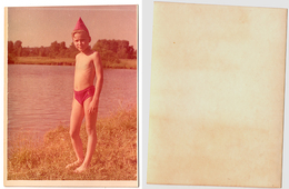 1970s Original 12x9cm Old Photo Vintage Child Boy Pants Teenager River Outside Pin Up Russia USSR (5199 - Pin-ups