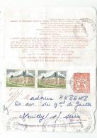 ENTIER 3FR CHAPLAIN CARTE PNEUMATIQUE +3FRX2 COLOMBES 1977 AU TARIF - Postmark Collection (Covers)