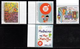 GREECE , 2019,MNH, CHILDREN AND STAMPS, SMOKE FREE GREECE, HEALTH, BOOKS, STYLIZED TRAIN,4v - Childhood & Youth