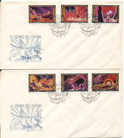 Cuba FDC 12-4-1974 El Cosmos Del Futuro 6 Stamps On 2 Covers With Cachet - FDC