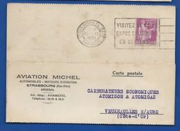 Carte à Entête D'Entreprise Aviation MICHEL   Automobiles-Moteurs D'Aviation   STRASBOURG     Année 1933 - Strasbourg