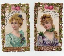 CHROMO Gaufrée Découpis Chocolat Poulain Femme Buste Fleurs Roses (2 Chromos) - Poulain