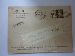 """Busta  Viaggiata Con Bollettino Postale E Stampato Pubblicitario """"O.B. MILANO"""" 1942 - Marcofilie"""