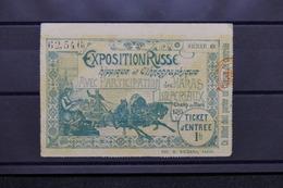 VIEUX PAPIERS - Ticket D 'entrée De L 'Exposition Russe Hippique Et Ethnographique En 1895 à Paris - L 31077 - Tickets D'entrée