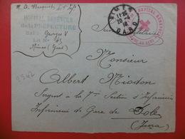 LETTRE CACHET FRANCHISE HOPITAL BENEVOLE DE LA PREFECTURE DU GARD NIMES 1918 - Storia Postale