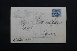 FRANCE - Lettre De Paris Pour Dijon En 1876 , Affranchissement Cérès - L 31095 - Marcofilia (sobres)