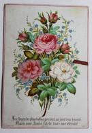 Chromo Image Bouquet De Fleurs Une Amie Fidèle Dure Une éternité Amitié Aubry - Cromo