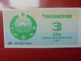 OUZBEKISTAN 3 SUM 1992 PEU CIRCULER/NEUF - Oezbekistan