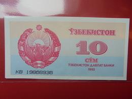 OUZBEKISTAN 10 SUM 1992 PEU CIRCULER/NEUF - Oezbekistan