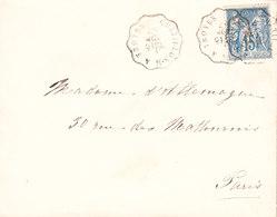 FRANCE Lettre Cachets Ambulant De 1887 De TROYES A PARIS - Marcophilie (Lettres)