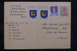 FRANCE - Entier Postal Type Semeuse + Complément De Courrieres Pour Lons Le Saunier - L 31110 - Entiers Postaux