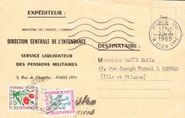FRANCE Lettre Taxée (MINISTERE Des ARMEES De Terre) De PARIS VII Rue Cler Du 22 Juillet 1965 Via RENNES - Marcophilie (Lettres)