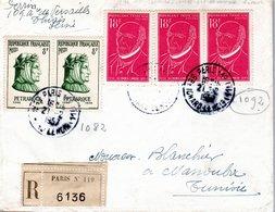 LETTRE RECOMMANDEE 1957 - CACHET POSTAL ARRIVEE MANOUBA - - France