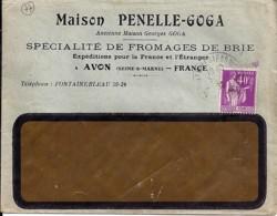 """77 - SEINE ET MARNE - AVON -  ENTETE """"MAISON PENELLE-GOGA/FROMAGES DE BRIE""""  1936 - Marcophilie (Lettres)"""