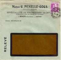 """77 - SEINE ET MARNE - AVON -  ENTETE """"MAISON PENELLE-GOGA/FROMAGES DE BRIE""""  1934 - Marcophilie (Lettres)"""