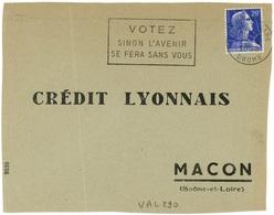 VALENCE GARE DROME 1958  Secap : VOTEZ SINON ... - Poststempel (Briefe)