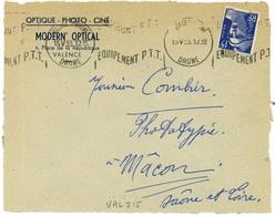 VALENCE  S/ RHONE DROME 1953 Oblit. Krag : EMPRUNT P.T.T.  EQUIPEMENT P.T.T. - Poststempel (Briefe)