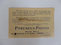 Carte De Visite De Pyrénées-Photo Maison Balu 41, Bd De La Grotte à Lourdes (65). - Kaarten