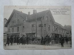 CPA 25 DOUBS-MAICHE : Hôtel De La Poste. Table D'hôte Eugène GLASSON (charettes Et Scène Animée En Façade) - France
