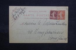 FRANCE - Entier Postal Type Semeuse + Complément De Paris Pour La Suisse - L 31153 - Entiers Postaux