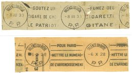 VALENCE SUR RHONE (Drome) 1953 :  2 Oblit. Krag Port Payé - 2 Fragments - - Poststempel (Briefe)