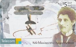 TARJETA TELEFONICA DE NUEVA ZELANDA, AVIONES. Richard Pearse. NZ-C-123. (090) - Airplanes