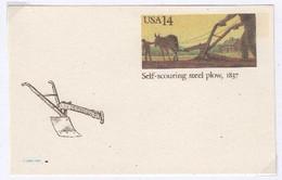 Agriculture  Travaux Des Champs, Labour, Mule, Charrue  USA Entier-postal ** - Agriculture
