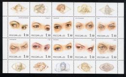 RUSSIE RUSSIA 2002, REGARDS / EYES, 10 Valeurs En Feuillet, Neuf / Mint.  R950 - 1992-.... Föderation