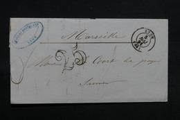 FRANCE - Lettre De Lyon Pour Marseille En 1851 , Taxe 25 Double Traits - L 31174 - Marcofilia (sobres)
