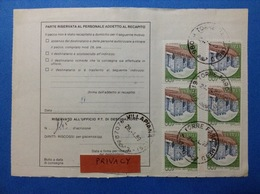 1989 2 STRISCIE DI 3 CASTELLO 400 SU BOLLETTINO PACCHI - 6. 1946-.. Republic
