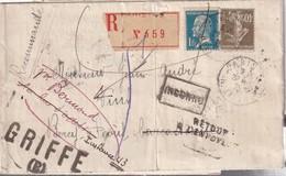 FRANCE1926 LETTRE RECOMMANDEE DE PARIS AVEC RETOUR A L'ENVOYEUR - 1921-1960: Période Moderne