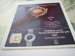 ANCIENNE PUBLICITE MONTRE ELECTRIQUE TIMEX 1975 - Joyas & Relojería