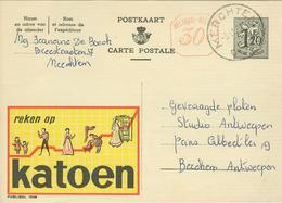 PUBLIBEL 1508 M°:(KATOEN) - POSTKAART 1958 - Merchtem - Interi Postali