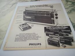 ANCIENNE PUBLICITE RADIO CASSETTES PHILIPS 1975 - Musik & Instrumente