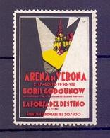 CINDERELLA ERINNOFILIA ARENA DI VERONA LA FORZA DEL DESTINO 1950  (GIUGN1900B24) - Erinnofilia