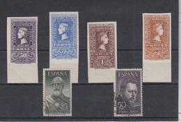 ESPAÑA.  EDIFIL 1075 **- 1076 ** - 1079 ** - 1080 ** Y EDIFIL 1124/25 US - 1951-60 Nuevos & Fijasellos