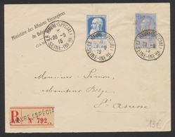 """Affranch. Mixte (FB / GB) Sur Lettre En Recommandé """"Le Havre (Special) / Seine Infre"""" (1915) Vers St-adresse. Ministère - 1893-1900 Thin Beard"""