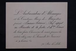 FRANCE - Carte D 'invitation Nominative De L 'Ambassadeur D 'Allemagne à Une Soirée - L 31188 - Faire-part