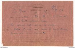 INDOCHINE - Télégramme Etat Français / Travail, Famille, Patrie / Radio 50 - Hué Pour Saïgon 1945 - Militaire Prisonnier - Indochine (1889-1945)