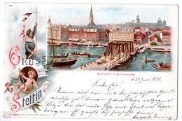Hansa Stettin, Frankierte Ansichtkarte Bollwerk Mit Baumbrücke. - Poste Privée