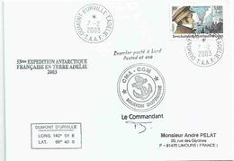 YT 274 - Dumont D'Urville - Lettre Postée à Bord Du MD - Terre Adélie - 07/02/2003 - Covers & Documents
