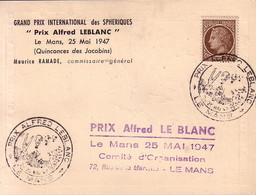 SARTHE - LE MANS -  PRIX ALFRED LE BLANC - MAZELIN  2F50 SEUL SUR CARTE SPECIALE AVEC VIGNETTE BALLON - 25-5-1947. - Poststempel (Briefe)